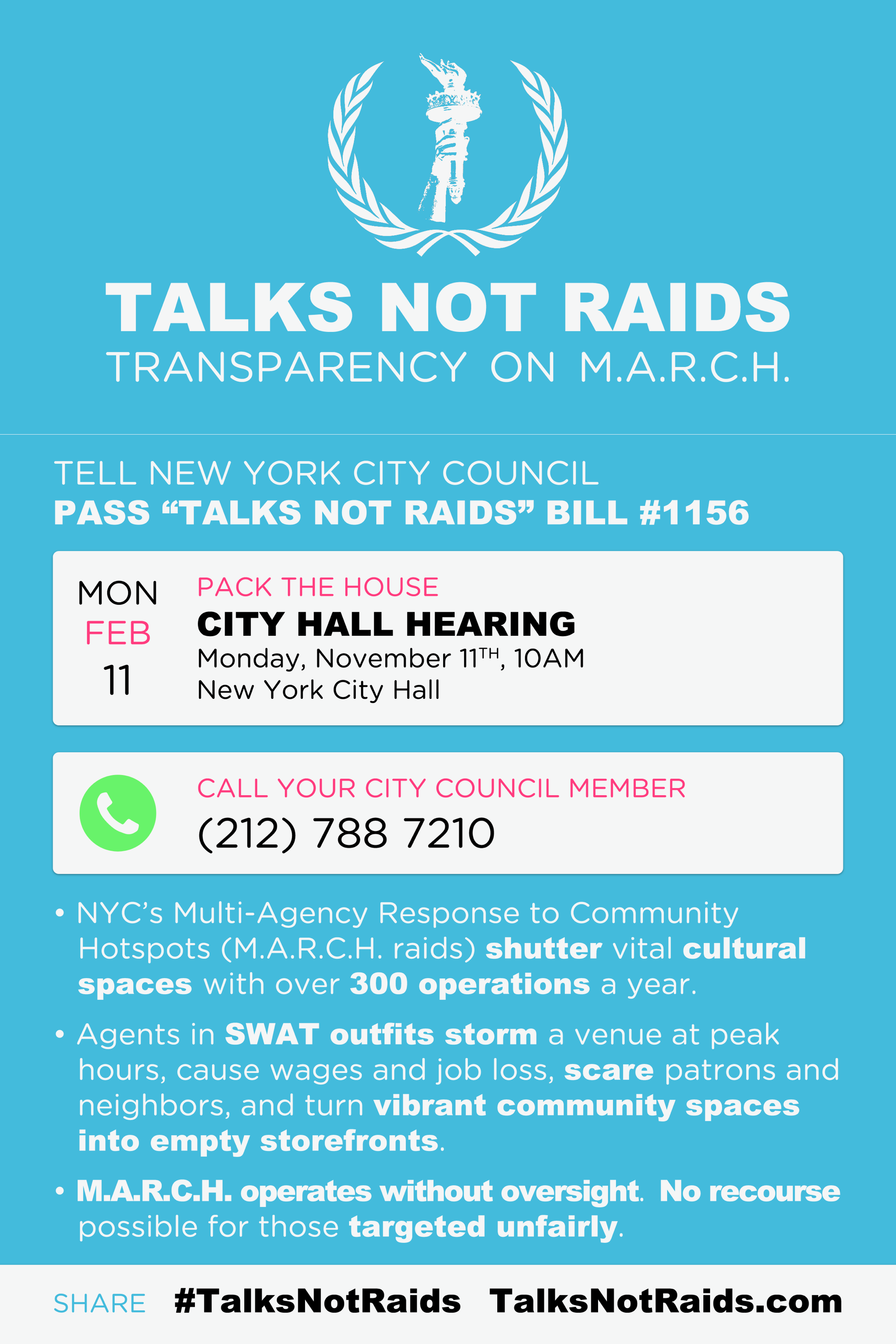 Transparency on M A R C H #TalksNotRaids - NYC Artist Coalition